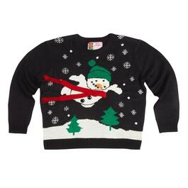 Flying Snowman Ugly Holiday Sweater