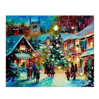 "16""x20"" Town Christmas Tree LED Canvas Wall Art"