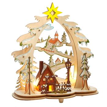 "11"" LED Cutout Wooden Christmas Tree with Ski Trail"