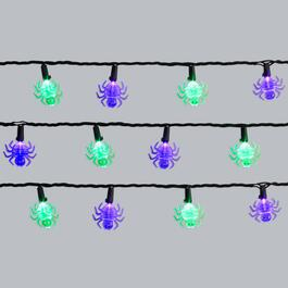8.5' Purple/Green Spiders LED String Lights, Set of 2