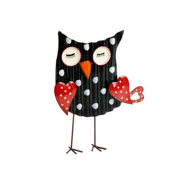 "15"" Polka Dot Glittered Metal Owl with Hearts"