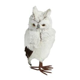 "15"" White Feather Owl Decor"