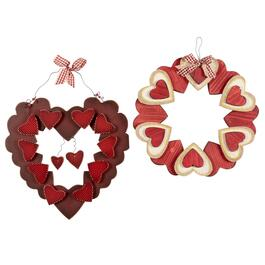 Bow Hearts Hanging Wood Wreaths, Set of 2