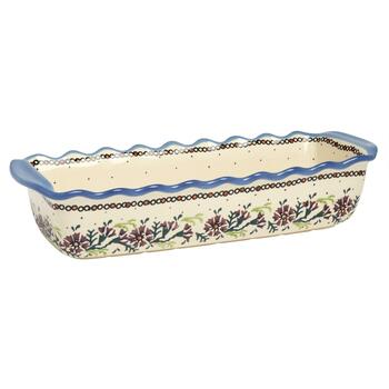 Polish Pottery Watercolor Flowers Handmade Fluted Loaf Pan