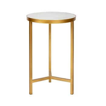 Gold Marble Top Round Accent Table