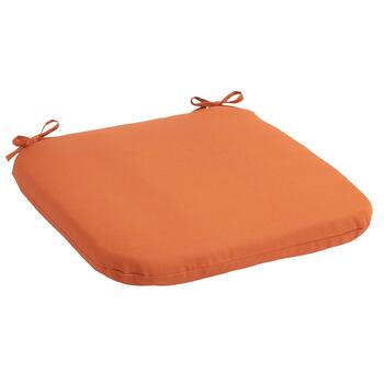 Solid Tangerine Indoor/Outdoor Squared Seat Pad