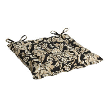 Black/Beige Floral Scroll Indoor/Outdoor Tufted Square Seat Pad view 1