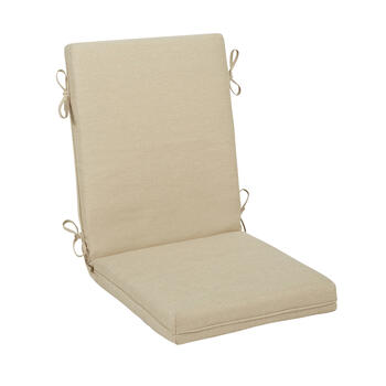 Solid Beige Woven Indoor/Outdoor Hinged Chair Pad view 1