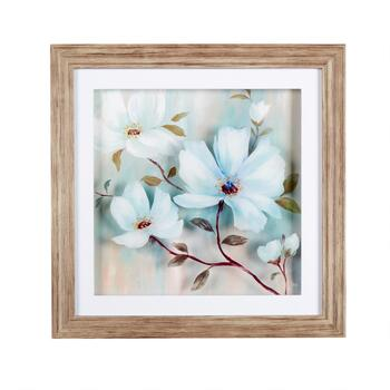 "16"" Layered White Floral Framed Wall Art"