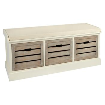 Alden Ivory 3-Shutter Washed Wood Bench