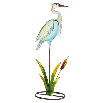 "21"" Blue Glass Heron on Metal Stand"
