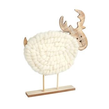 "13"" Cotton/Wood Reindeer Decor"