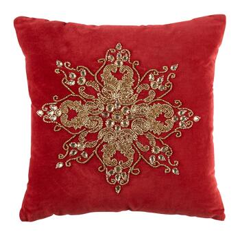 Red Embellished Beaded Snowflake Square Throw Pillow