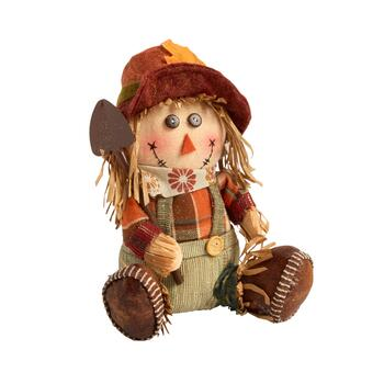 "8"" Sitting Scarecrow Boy with Shovel and Hat"