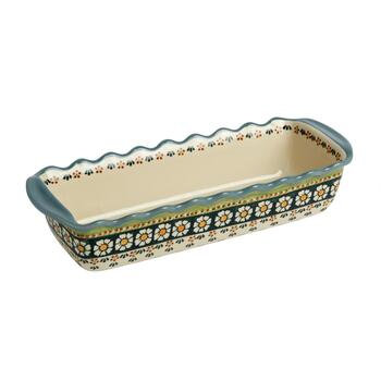 "15.5"" Polish Pottery Floral Dot Fluted Loaf Pan"