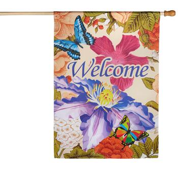 """Welcome"" Flower and Butterfly Yard Flag"