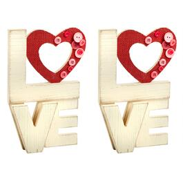 "Stacked ""LOVE"" Fabric Heart Table Sitters, Set of 2"