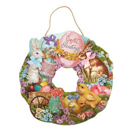 "20"" ""Easter Greetings"" Glitter Wood Wreath view 1"