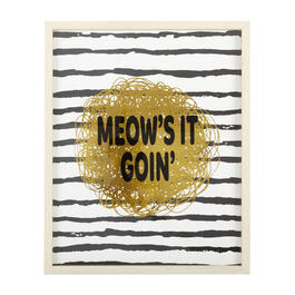 "17""x21"" ""Meow's It Goin'"" Gold Foil Framed Wall Decor view 1"