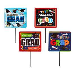 """Congrats Grad"" Assorted Plastic Yard Signs, Set of 4"