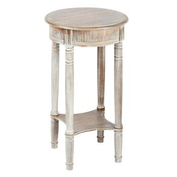 White Antique Round Accent Table