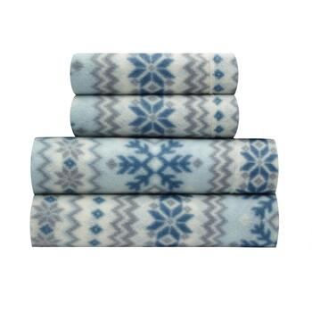 Sunbeam® Blue/White Snowflake Fleece Sheet Set