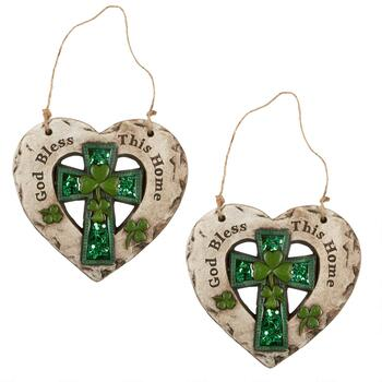 """Bless This Home"" Celtic Cross Heart Hangers, Set of 2"