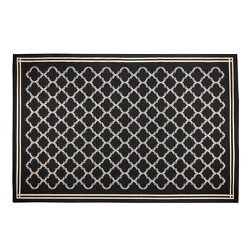 "6'6""x9'6"" Black Garden Gate All-Weather Area Rug"