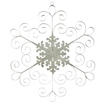 "15"" Silver Scroll Metal Snowflake Wall Hanger"