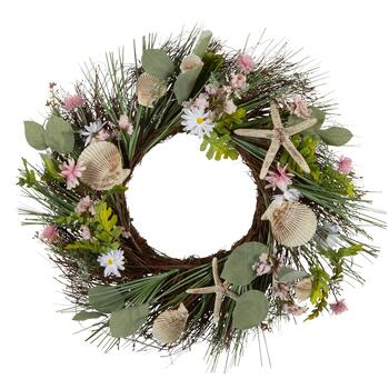 "22"" Seashells and Flowers Artificial Twig Wreath"