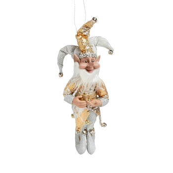 "14"" Green Jester Elf Poseable Ornament"