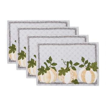 White Pumpkin Trio Fabric Placemats, Set of 4