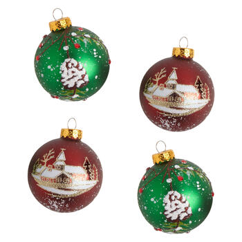 Green/Red Pinecone Glass Ornaments, Set of 8 view 1