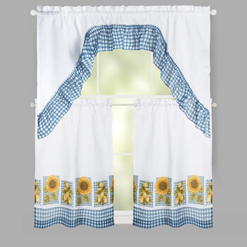 Sunflower Swag Window Tier & Valance Set view 1