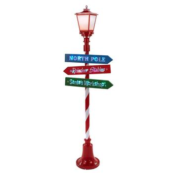 6' North Pole Directional Lighted Lamp Post Decor