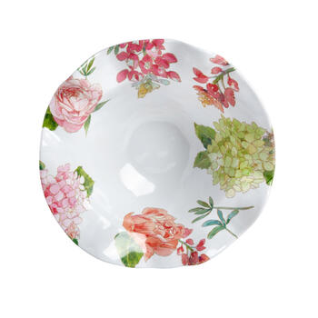 Pink Peony Scalloped Melamine Salad Serving Bowl view 2