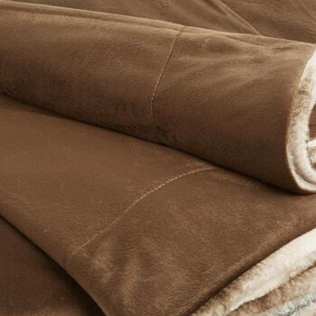 Horizontal Brown Stripe Faux Fur Throw Blanket view 2 view 3