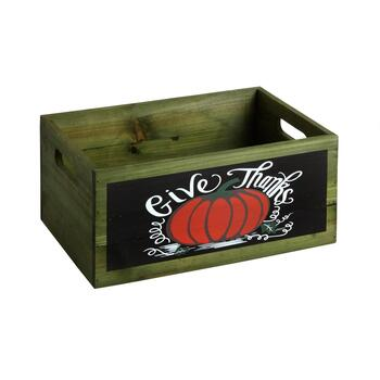 "9.5""x13.25"" ""Give Thanks"" Wood Storage Crate"