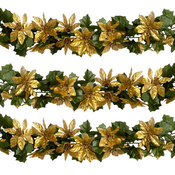 6' Metallic Poinsettia Flower Garlands, Set of 2 view 1