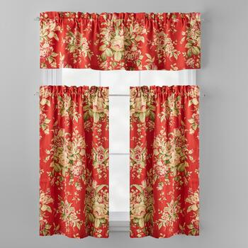 Waverly® Red Floral Window Tier & Valance Set