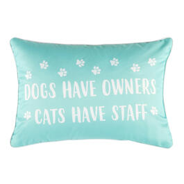 """Dogs Have Owners"" Blue Oblong Throw Pillow view 1"