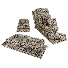 Black/Beige Floral Scroll Indoor/Outdoor Chair Cushions Collection view 1