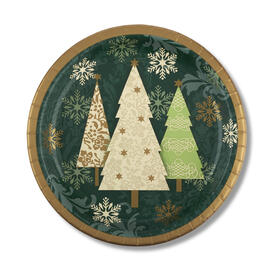 "Green Snowflake Tree 10"" Paper Plates, 18-Count view 1"