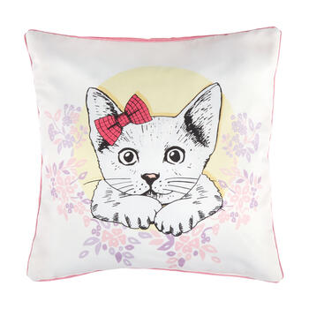 Spring Cat Feather-Fill Square Throw Pillow view 1