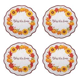 """Bless This Home"" Quilted Sunflower and Pumpkins Placemats, Set of 4"