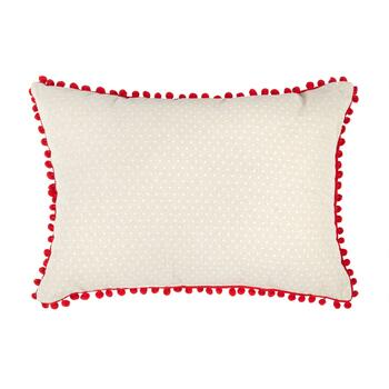 """Ho Ho Ho"" Santa Pom Pom Oblong Throw Pillow view 2"