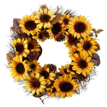 "22"" Jumbo Yellow Sunflowers Artificial Wreath"