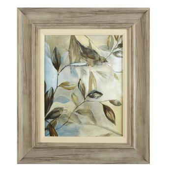 "19""x22"" Bird on a Branch Matted Linen Fillet Framed Wall Art"