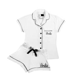 """Bride"" Women's White Shorts & Shirt PJ Set view 1"