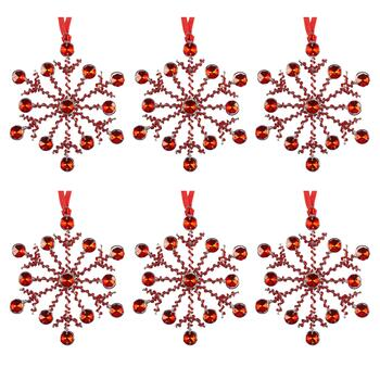 Beaded Snowflake Ornaments, Set of 6